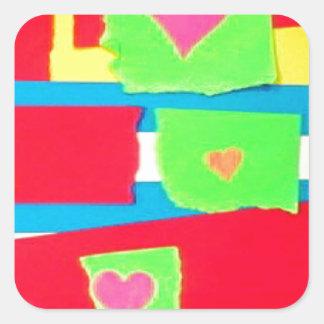Torn Paper Collage Square Sticker