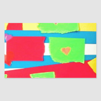 Torn Paper Collage Rectangle Stickers