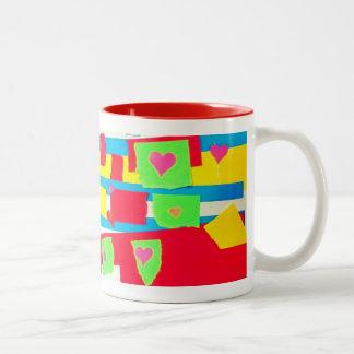 Torn Paper Collage Two-Tone Coffee Mug