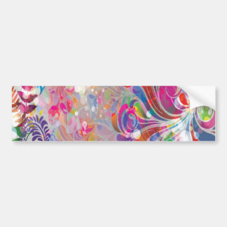 torn reto colorful abstract floral bliss car bumper sticker