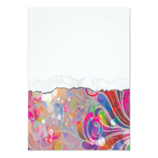 torn reto colorful abstract floral bliss 5x7 paper invitation card
