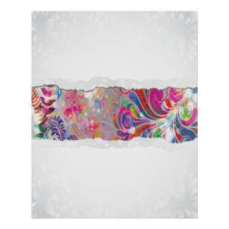 torn reto colorful abstract floral bliss poster