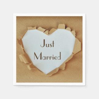 Torn Rustic Brown Paper Heart Wedding Paper Napkin
