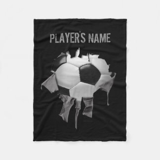 Torn Soccer Personalized Black Fleece Blanket