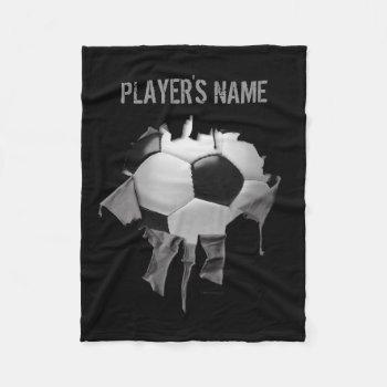 Torn Soccer Personalized Black Fleece Blanket by eBrushDesign at Zazzle