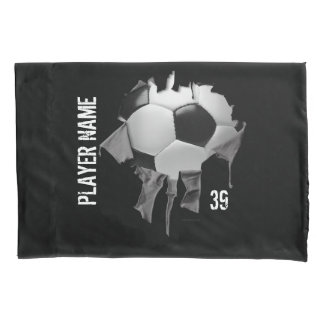 Torn Soccer Personalized Dark Pillowcase