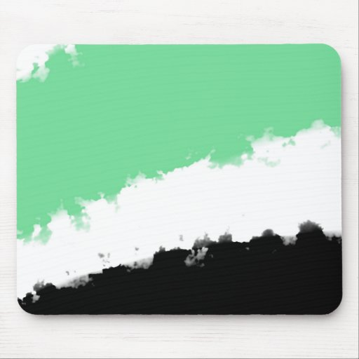 Torn Watercolor Abstract, Green, White Mouse Pad
