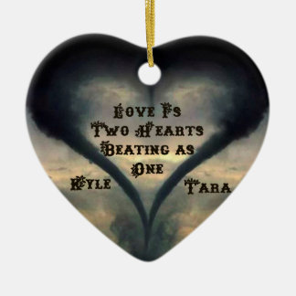 Tornado Heart Ornament with Names - Wild West font