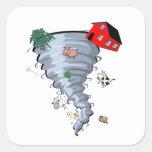 Tornado Pegatina Cuadrada