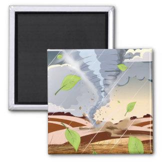 Tornado Twister 2 Inch Square Magnet