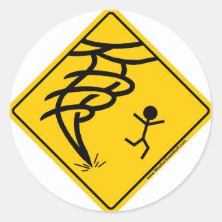 Tornado Warning Sign Classic Round Sticker
