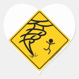 Tornado Warning Sign Heart Sticker