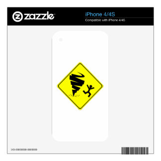 Tornado Warning Sign iPhone 4S Decal