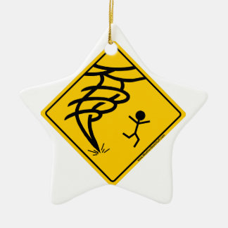 Tornado Warning Sign Double-Sided Star Ceramic Christmas Ornament