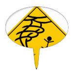 Tornado Warning Sign Oval Cake Topper