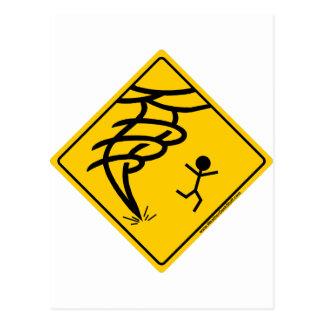 Tornado Warning Sign Post Cards
