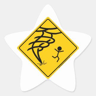 Tornado Warning Sign Star Sticker