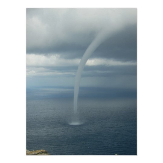 Tornado Waterspout Over Water Poster