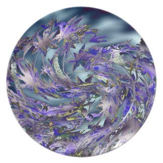 Tornado Windy Blue Leaves Design Plates