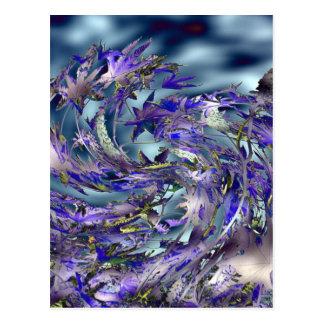 Tornado Windy Blue Leaves Design Postcards