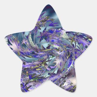 Tornado Windy Blue Leaves Design Star Sticker