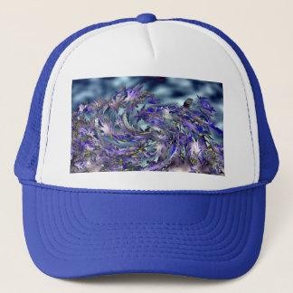Tornado Windy Blue Leaves Design Trucker Hat
