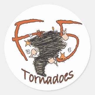 Tornados F5 Pegatina Redonda