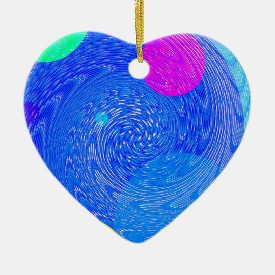 Tornados reconstruidos adorno navideño de cerámica en forma de corazón