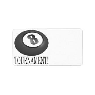Torneo 2 de 8 bolas etiqueta de dirección