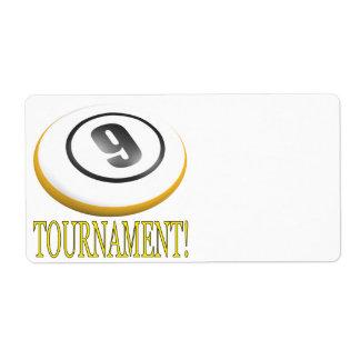 Torneo de 9 bolas etiqueta de envío