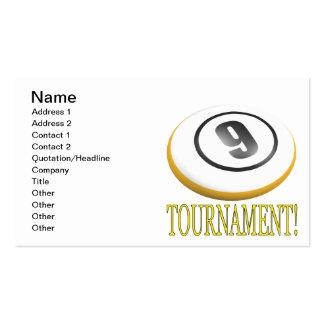Torneo de 9 bolas tarjetas de visita
