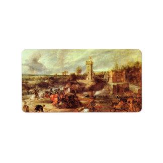 Torneo en un castillo de Paul Rubens Etiqueta De Dirección