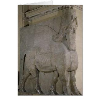 Toro con alas en una fachada de rey Sargon II Tarjeta De Felicitación