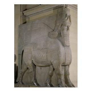 Toro con alas en una fachada de rey Sargon II Tarjeta Postal