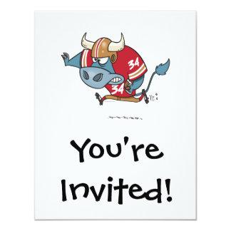 """toro divertido del dibujo animado que juega a invitación 4.25"""" x 5.5"""""""