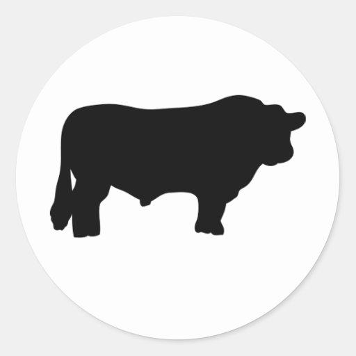 toro negro grande de angus pegatina redonda