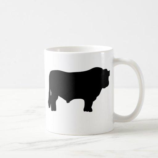 toro negro grande de angus taza de café