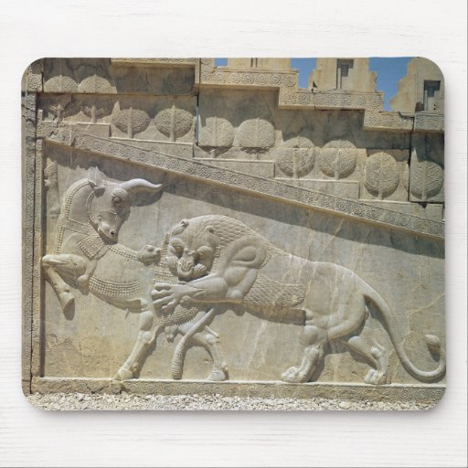 Toro que lucha del león, escalera del este del ali tapetes de ratones