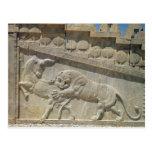 Toro que lucha del león, escalera del este del ali tarjeta postal