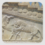 Toro que lucha del león, escalera del este del calcomanía cuadradas personalizadas