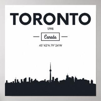 Toronto, Canada   Black and White City Coordinates Poster