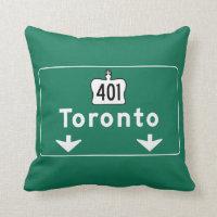 Toronto, Canada Road Sign Throw Pillow