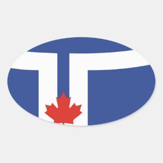 toronto city flag canada country oval sticker