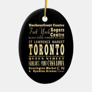 Toronto City of Canada Typography Art Double-Sided Oval Ceramic Christmas Ornament