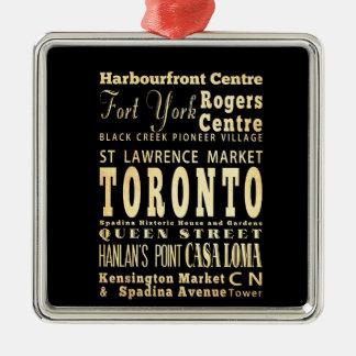 Toronto City of Canada Typography Art Metal Ornament