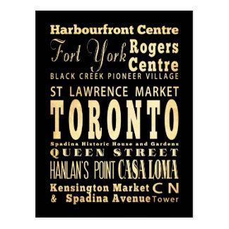 Toronto City of Canada Typography Art Postcard