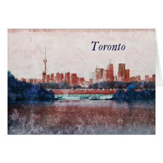 Toronto downtown skyline with sailboats greeting card