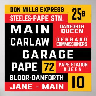 Toronto East End TTC Bus Rollsigns Poster