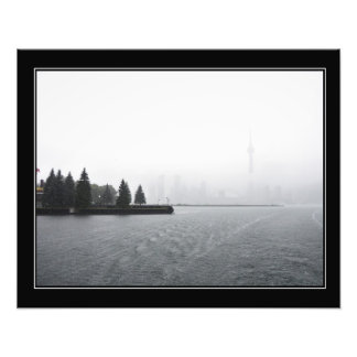 Toronto Harbour Skyline in the Rain bordered Photo Print