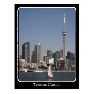 Toronto Harbour Skyline with Red Boat and border Postcards